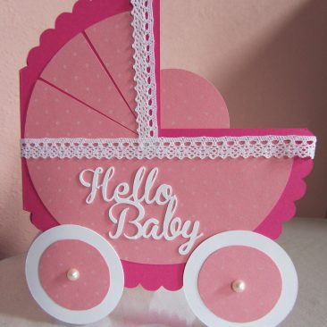 Handmade Pink Carriage Baby Card with lace and pearls