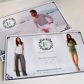 Island Couture sales postcard design