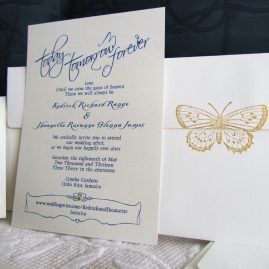 butterfly wedding invitation, today tomorrow, forever
