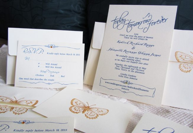 butterfly wedding invitation package, Today Tomorrow Forever
