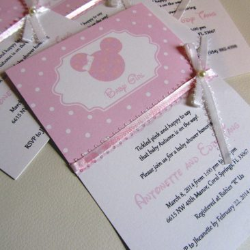 Minnie Mouse Baby Shower invitation with lace and pearls