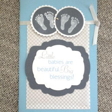 baby boys twins - handmade welcome card