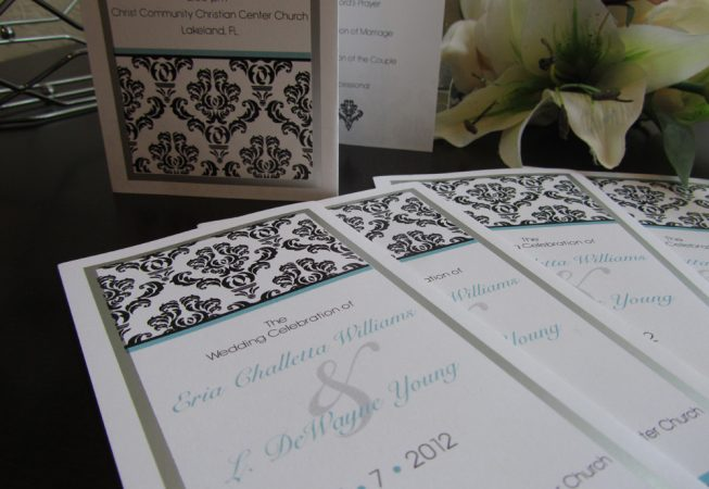 Wedding Z-fold program damask pattern with silver foil border