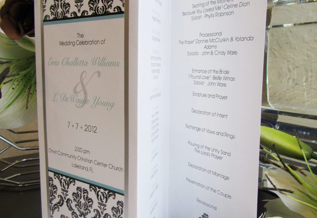 Wedding Z-fold program damask pattern