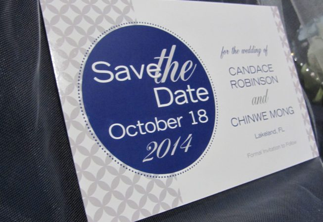 Save The Date postcard- Gray Navy Wedding