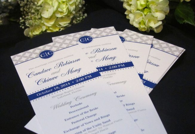 Gray Navy Wedding program