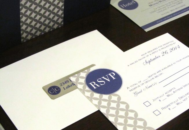 Gray Navy Wedding Package - RSVP card and envelope