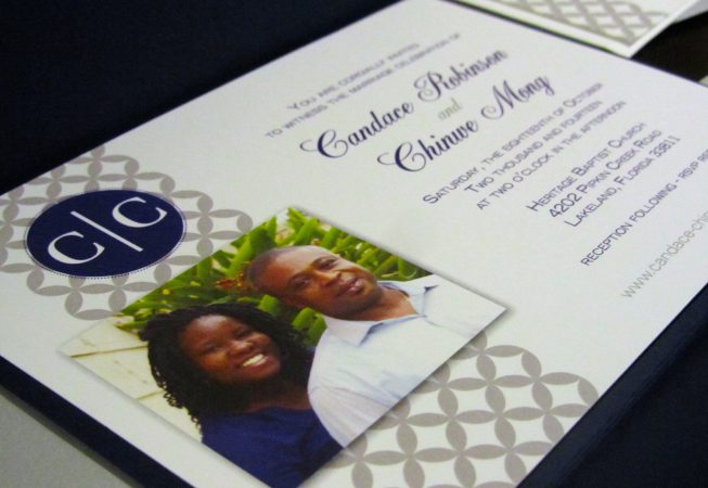 Gray Navy Wedding Package - Invitation