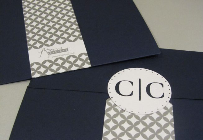 Gray Navy Wedding Package - Gatefold Enclosure with monogram cut-out seal