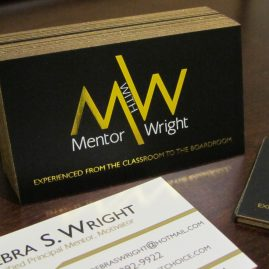 Mentor with Wright gold foil business cards