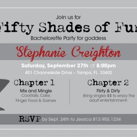 """Fifty Shades"" theme Bachelorette Party - Invitation"