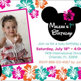 Minnie Mouse Luau Party invitation