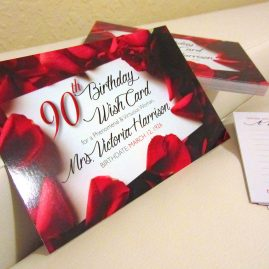 Red roses themed 90th Birthday Party, graphic design