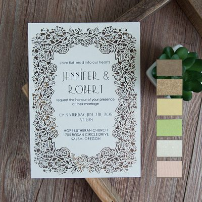 Floral Frame Laser Cut Flat Card Invitation - white