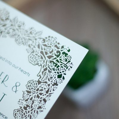 Floral Frame Laser Cut Flat Card Invitation - detail