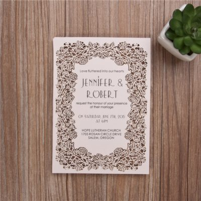 Floral Frame Laser Cut Flat Card Invitation - Blush Pink