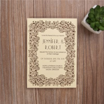 Floral Frame Laser Cut Flat Card Invitation - Yellow