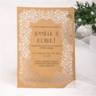 Floral Frame Laser Cut Flat Card Invitation - Metallic Gold