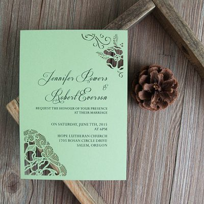 Peony Flower Corners Laser Cut Wedding Invitations - Moon Green