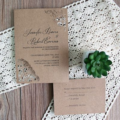 Peony Flower Corners Laser Cut Wedding Invitations - Kraft