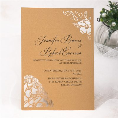 Peony Flower Corners Laser Cut Wedding Invitations - Metallic Gold