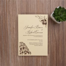 Peony Flower Corners Laser Cut Wedding Invitations - Yellow