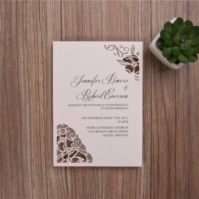 Peony Flower Corners Laser Cut Wedding Invitations - Blush Pink