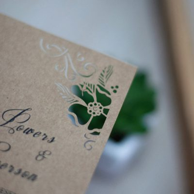Peony Flower Corners Laser Cut Wedding Invitations - detail