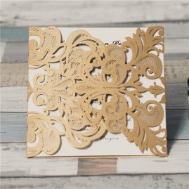 Lace Pocket Gatefold Laser Cut Wedding Invitation Card