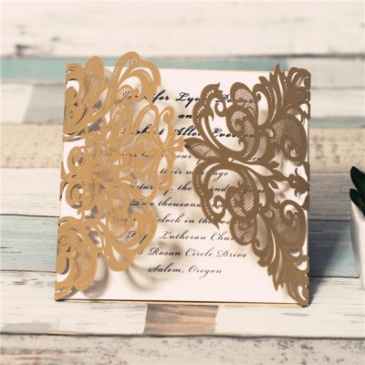 Lace Pocket Gatefold - Metallic Gold
