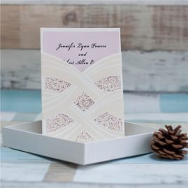 White Cross Sash Gold Accent Pocket Laser Cut Wedding Invitation