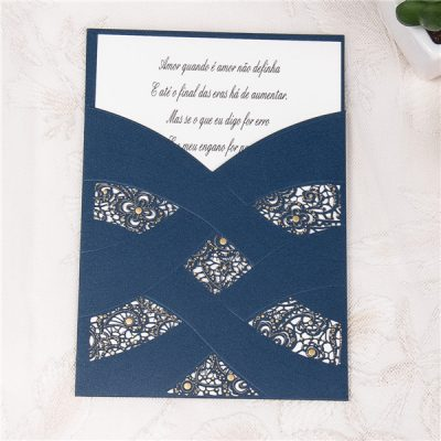 Navy Cross Sash Gold Accent Pocket Laser Cut Wedding Invitation