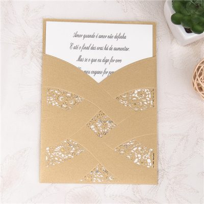 Metallic Cross Sash Gold Accent Pocket Laser Cut Wedding Invitation