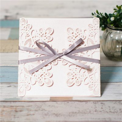 Abstract Flowers Unity Laser Cut Wedding Invitations with grey ribbon