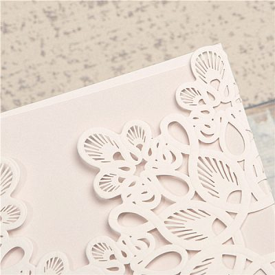 Abstract Flowers Unity Laser Cut Wedding Invitation - detail