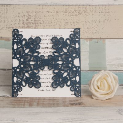 Abstract Flowers Unity Laser Cut Wedding Invitations - Navy