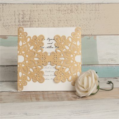 Abstract Flowers Unity Laser Cut Wedding Invitations - Metallic Gold
