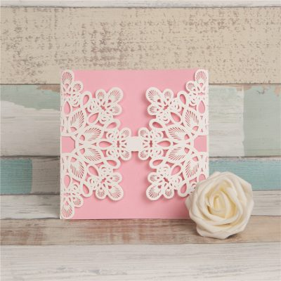Abstract Flowers Unity Laser Cut Wedding Invitations - white