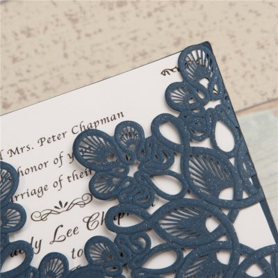 Abstract Flowers Unity Laser Cut Wedding Invitations - detail