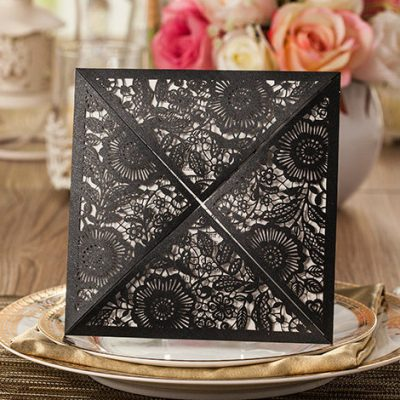 Floral Four Triangles Laser Cut Wedding Invitations - WPL0013, black