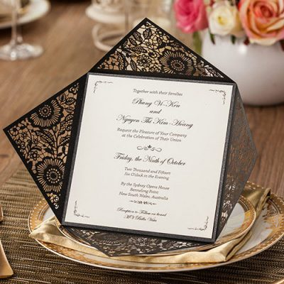 Floral Four Triangles Laser Cut Wedding Invitations - WPL0013- black