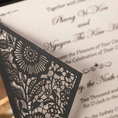 Detail - Floral Laser Cut Wedding Invitations - WPL0013, black