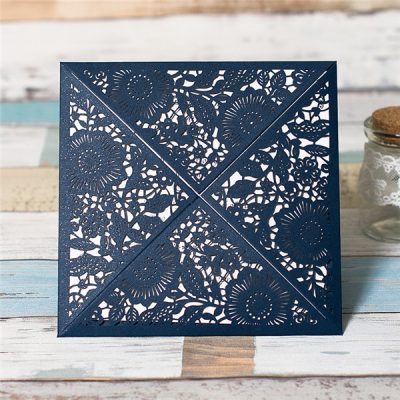 Floral Four Triangles Laser Cut Wedding Invitations - navy