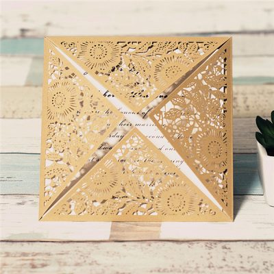 Floral Four Triangles Laser Cut Wedding Invitations - WPL0014, gold
