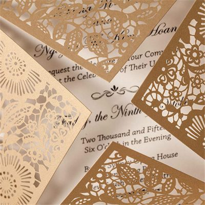 Detail - Floral Four Triangles Laser Cut Wedding Invitations - WPL0014, gold