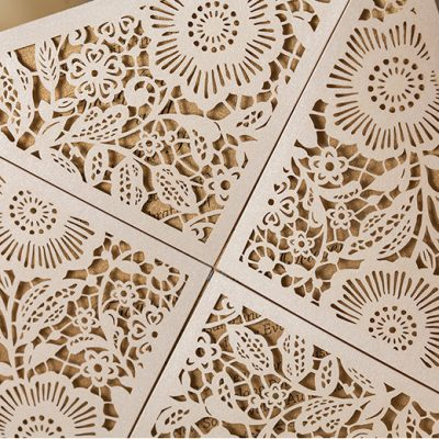 Floral Four Triangles Laser Cut Wedding Invitations - detail
