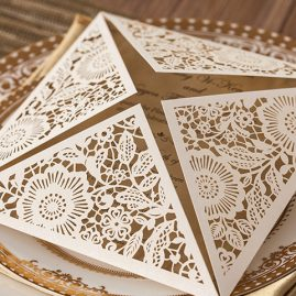 Floral Four Triangles Laser Cut Wedding Invitations