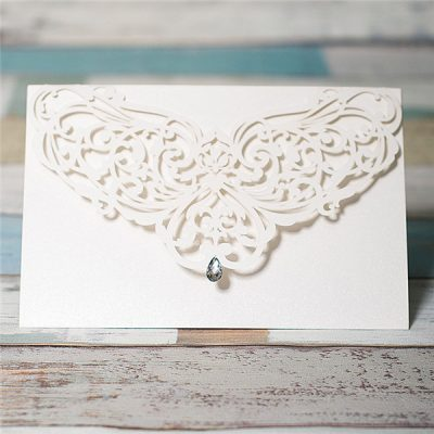 Diamond Accent Top Fold Horizontal Laser Cut Invitations