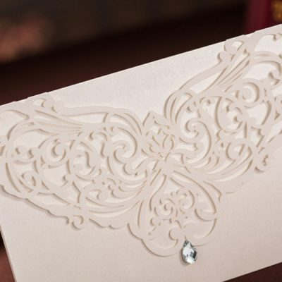 Diamond Accent Top Fold Horizontal Laser Cut Invitations - detail
