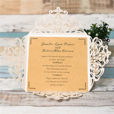 Intricate Symmetry Four Pattern Laser Cut Wedding Invitation - pearl white
